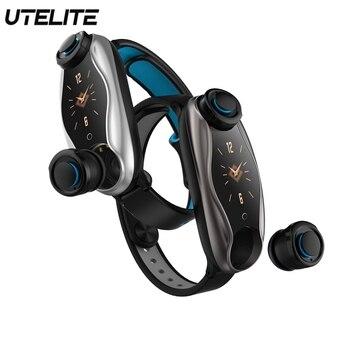 UTELITE Fitness Tracker Bracelet IP67 Waterproof Wireless Bluetooth Earphones 5.0 Heart Rate Sport Smart Watch for Apple Huawei