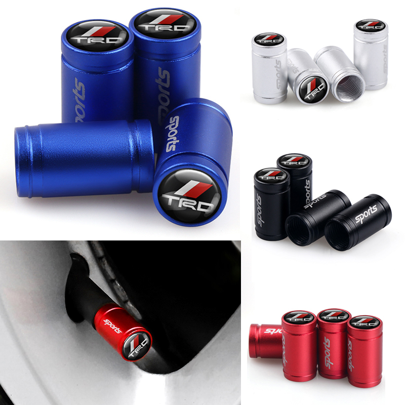 4PCS/lot Auto Sport Car Styling Wheel Tire Parts Valve Stem Caps Cover For Toyota CROWN REIZ TRD Racing LOGO Tire Accessories