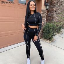 ผู้หญิงชุดออกกำลังกาย stripe 2 ชิ้น sportwear ลำลองแขนยาว Crop Tops บางยืดหยุ่นยืด Leggings ใหม่
