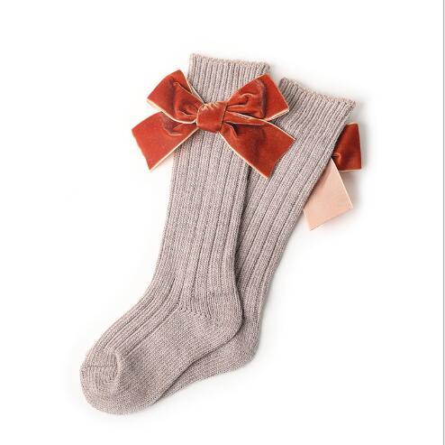Winter new children's socks thick line knitting in tube socks female baby warm cotton socks fashion velvet bow piled socks 2