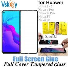 VSKEY 10PCS Full Glue Tempered Glass for Huawei Nova 5 5i/5T/5z Full Cover Screen Protector Huawei Nova 5i Pro Protective Film