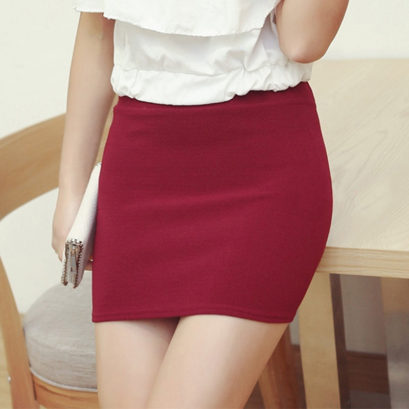 Hip Pencil Skirt Fashion Women Ladies Sexy Summer Package Seamless Elastic Mid Waist Slim Mini Skirts For Office Party