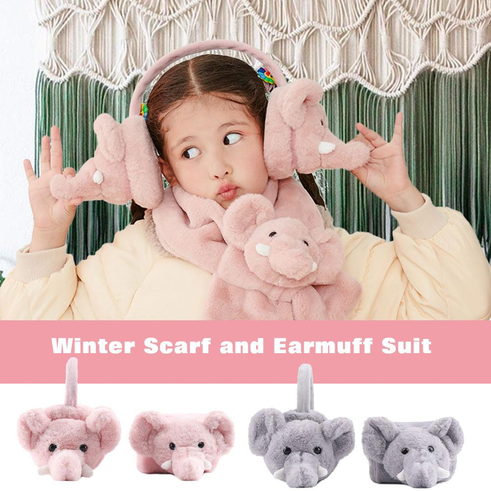 Winter Scarf And Earmuff Suit Elephant Pattern Skin-friendly Soft Warm Keeping Suit For Children Winter Outing Wear
