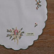 N061 White 12pieces 55% Ramie45% Cotton Elliptical Placemats 45cm x 30cm Christmas style embroidery Green curved edge Table mats