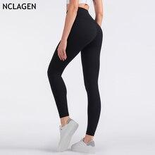 NCLAGEN tozluk kadın spor spor egzersiz çalışan iki taraflı yüksek bel yüksek Rise Yoga pantolon popo kaldırma Squat geçirmez tayt