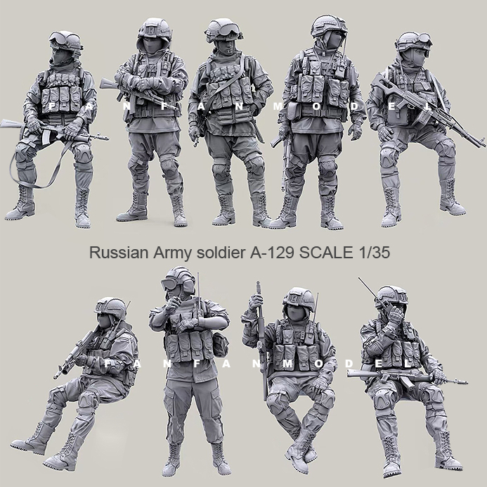 1:35 (9pcs/set) Scale Resin Figure  Kit Russian Modern Special Forces Resin Soldiers -send Guns Gifts