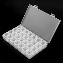 28 Slots Empty Storage Box for Nail Transparent Plastic Art Manicure Tools Rhinestone Gems Jewelry Display Case