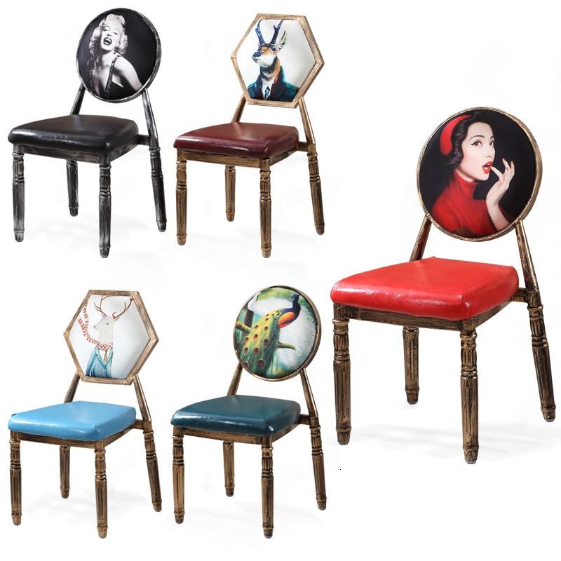 European Dining Chair Retro Minimalist Nail Chair Back Armchair Coffee Shop West Restaurant American Furniture