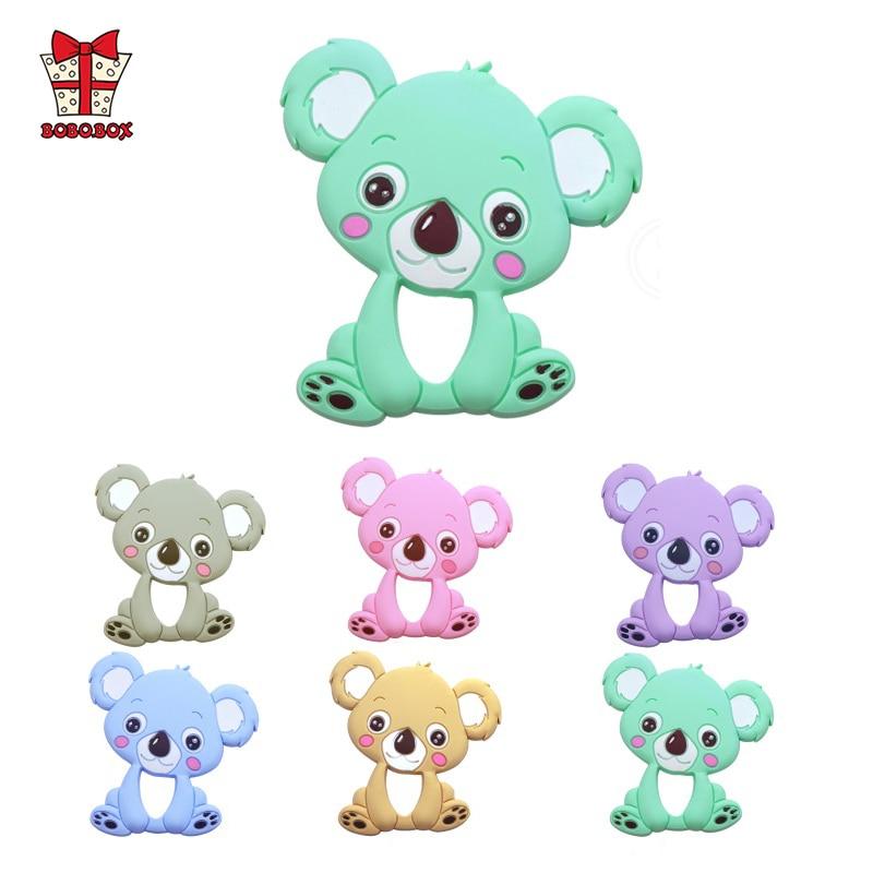 BOBO.BOX 2pcs Baby Silicone Teethers BPA Free Food Grade Teething Toy Animal Koala Baby Ring Teether Silicone Beads DIY Chain