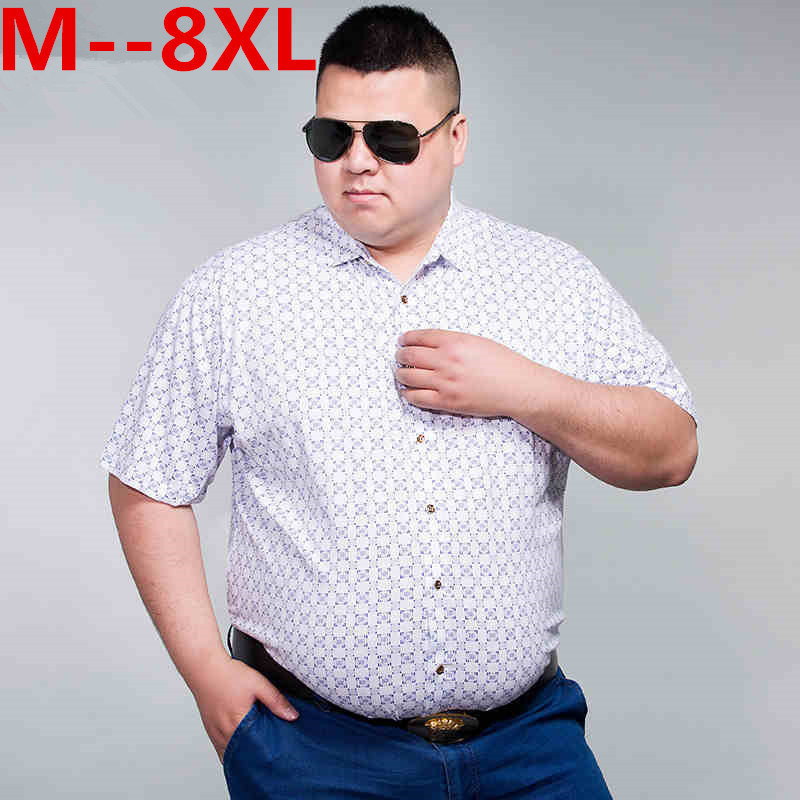 10XL 8XL 6XL 5XL 4XL  New Summer Mens Cotton Dress Shirts Short Sleeve Plaid Pattern Business Formal Shirt Male Camisa Male