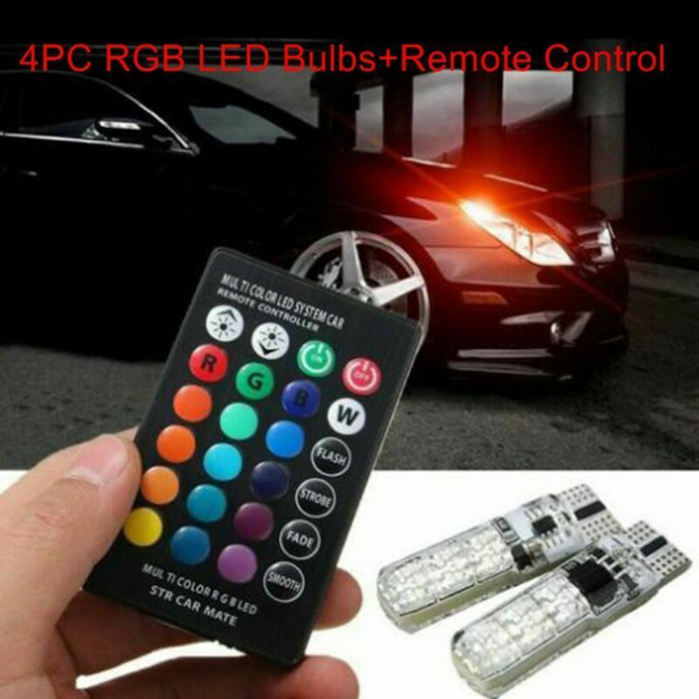 Hot Sale 4PC 5050 W5W 6SMD RGB LED Multi Color Light Car Wedge Bulbs Remote Control title=