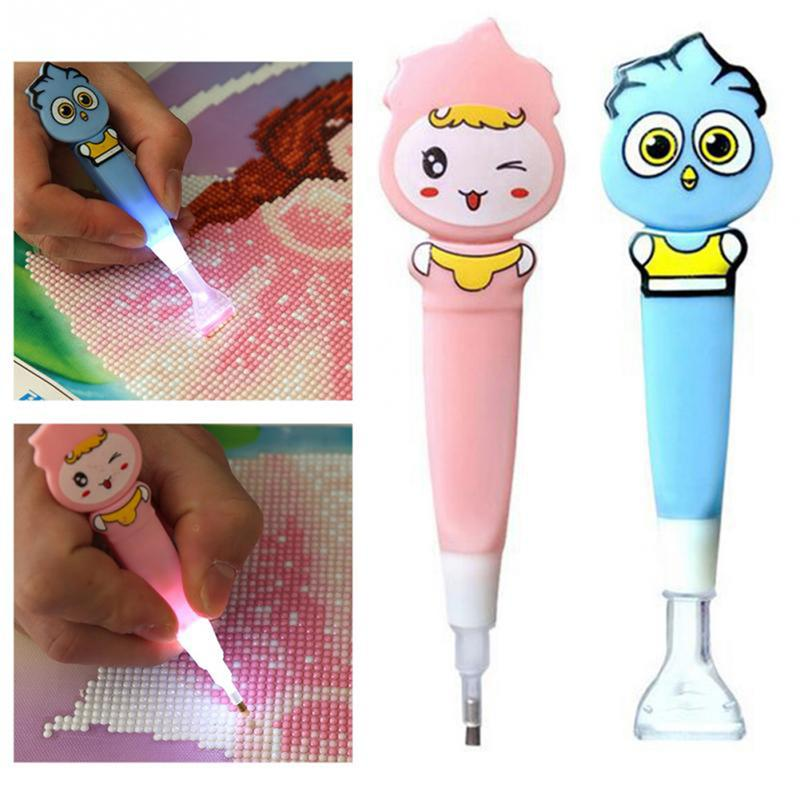None LED Glowing Cartoon DIY Diamonds Painting Cross Stitch Embroidered Drill Pen