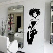 Girl Wall decal Stylist Master wall sticker vinyl Beauty salon wall window decor art poster JH55 day of the dead girl skull head vinyl wall decal sticker