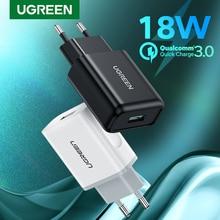 Ugreen USB 빠른 충전 3.0 QC 18W USB 충전기 QC3.0 빠른 벽 충전기 삼성 s10 화웨이 Xiaomi 아이폰에 대 한 휴대 전화 충전기