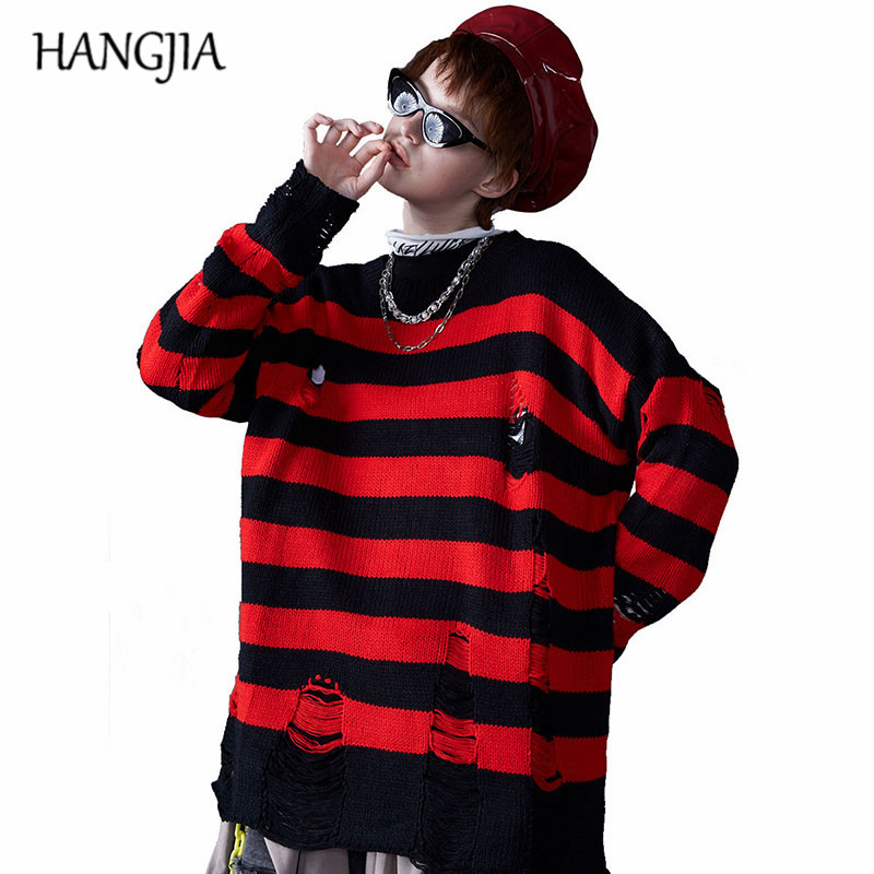 Women's Black Red Striped Knit Sweaters Autumn Winter Hole Ripped Pullovers Women Fashion Oversized Jumpers All-match Clothing