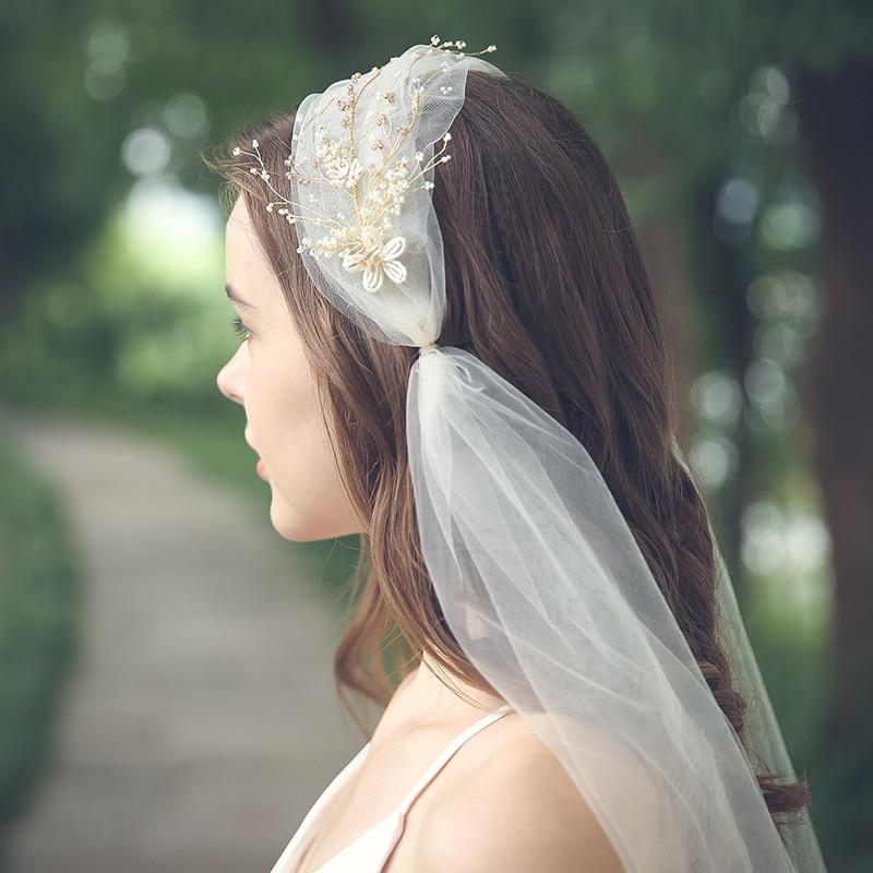 lace bridal veil long European and American wedding accessories wedding lace veil champagne handmade headdress