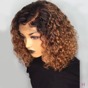 1B/27 Ombre Color Short Curly Lace Front Human Hair Wigs With Baby Hair Pre Plucked Remy Brazilian Lace Bob Wigs Bleached Knots(China)