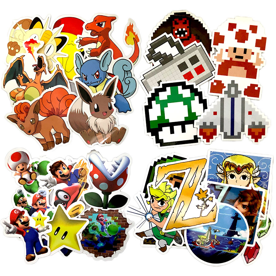 Game Anime Pixel Stickers Super Marioes Bros Zeldaes Sticker For Wall Decor Fridge Laptop Car Sticker No Repeat