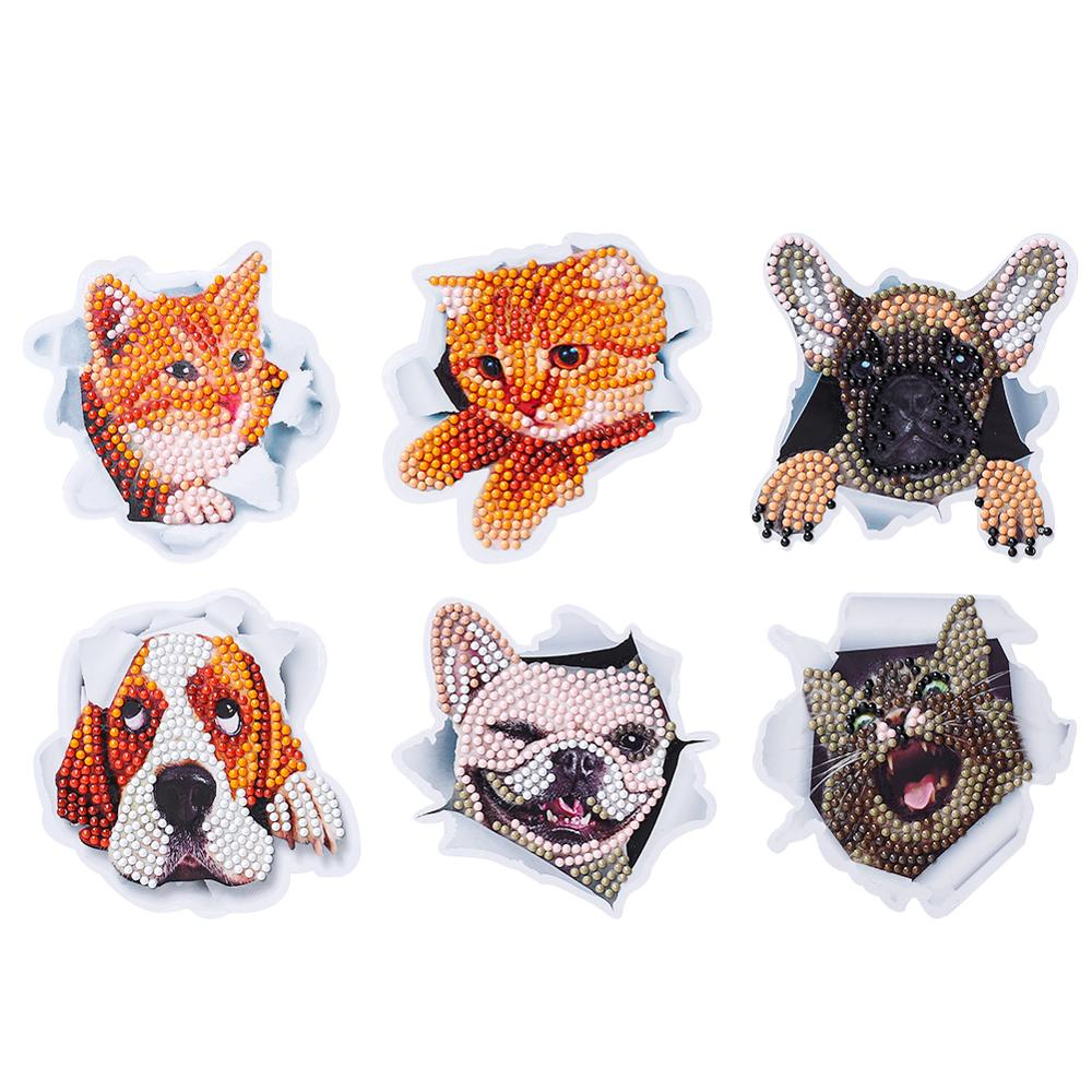 DIY Diamond Painting Kids Puzzle Toys Sticker Cute Animals Birds Book Decoration Decals Adhesive Drawing Stickers Art Crafts