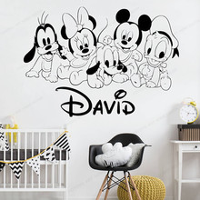 Personalized Vinyl wall Decal Mickey Wall Sticker Custom Name kids room wall decor boys bedroom  removable art mural  JH10 personalized boy name wall decal mickey head ears vinyl wall sticker kids room custom name wall decor jh16