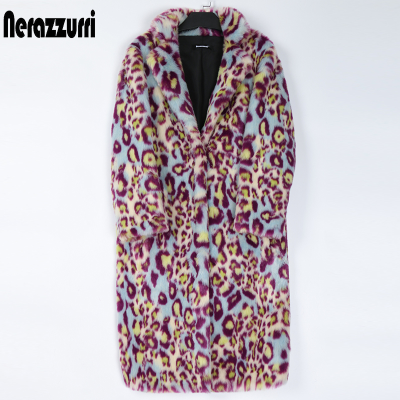 Nerazzurri Multicolor leopard print faux fur coat women lapel Long warm womens plus size fashions Winter clothes women 2020 7xl