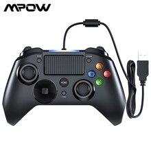 Controle de jogos mpow ps4 com fio usb, joystick múltiplo com alça de vibração, cabo gamepad para iphone, ipad e pc ps4/ps3