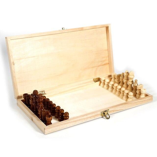 Pliant en bois International jeu d'échecs pièces ensemble jeu de société drôle jeu Chessmen Collection Portable conseil jeux de voyage 6