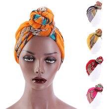 Bonnet imprimé africain pour femmes, Turban, couvre-tête, bandeau musulman, Bonnet de nuit, chapeaux de sommeil, longs, cravates