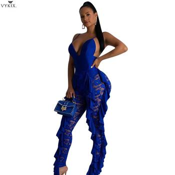 Sexy Jumpsuit Solid Blue Ruffle Lace Jumpsuit Women Rompers V Neck Spaghetti Straps Backless Skinny Night Clubwer Party Bodysuit фото