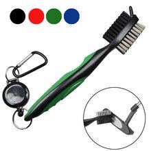 Golf club escova groove cleaner com fecho de correr retrátil e alumínio mosquetão ferramentas de limpeza
