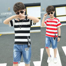 цена на Kids wear summer striped short-sleeved T-shirt + half-length jeans fashion sports two-piece suit 4-12 Age child quality clothing