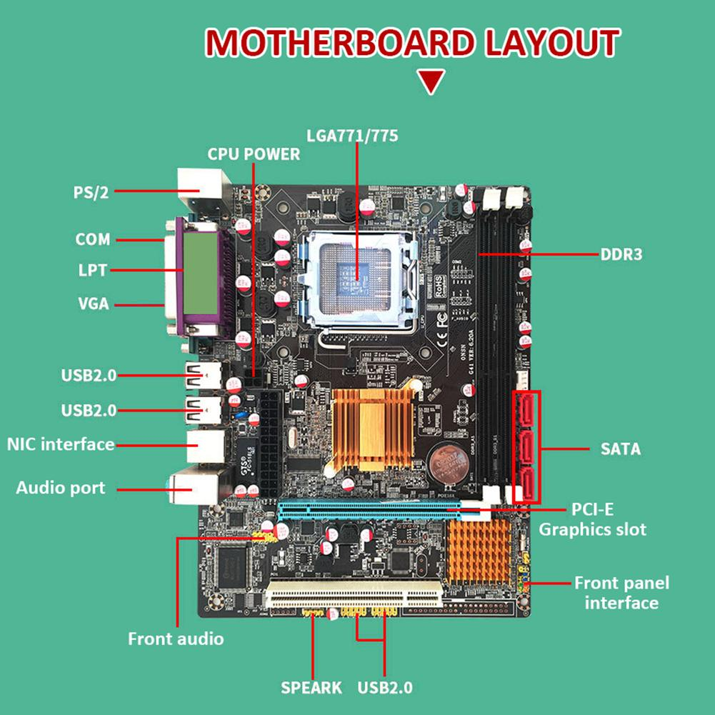 computer motherboard Desktop Computer Motherboard With All Solid Capacitor SATA2.0 RJ45 LPT VGA Audio 771 775 CPU Dual DDR3 1066/1333MHz Motherboard (5)