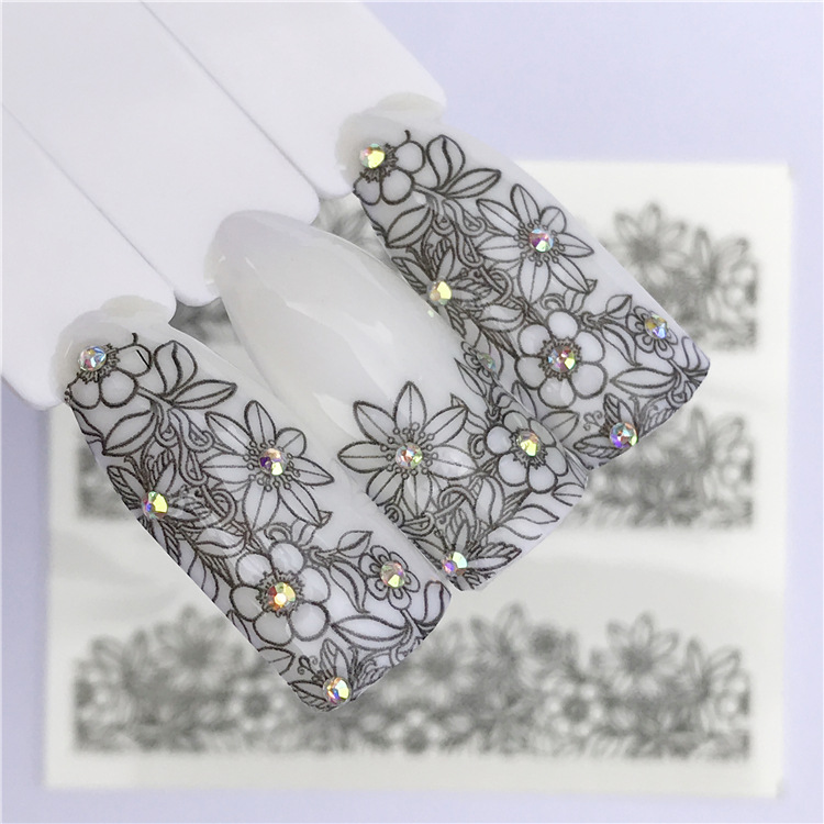 New Style Black Lace Nail Sticker Korean Series-Black And White With Pattern Flower Watermark Nail Sticker Flower Stickers Acces