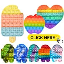 Funny Push It Fidget Toy Antistress Toys Adult Children Push Bubble Pop Fidget Sensory Toy Squishy Jouet Pour Autiste Toy