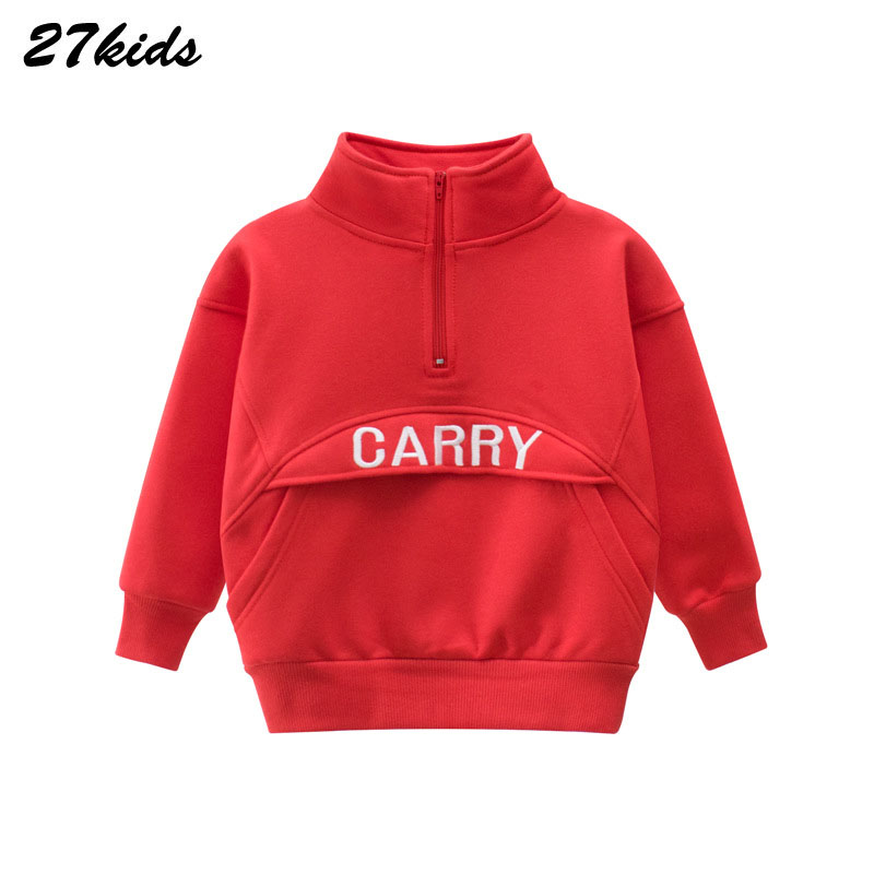 27kids Letter Print Boys Kids Sweatershirt With A Stand-up Collar For Kids Autumn Sweatershirt Blouse Tops Children's Sweater