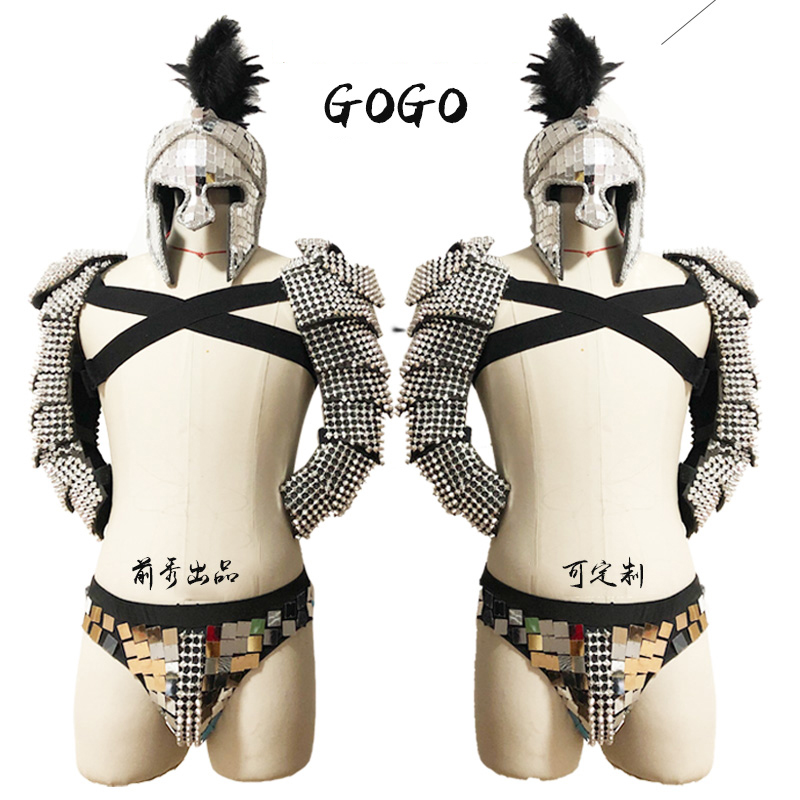 2019 Festival Outfit Men Roman Knights Cosplay Costume GoGo Dancer Costume Party Stage Handmade Mirror Costume Nightclub VDB742