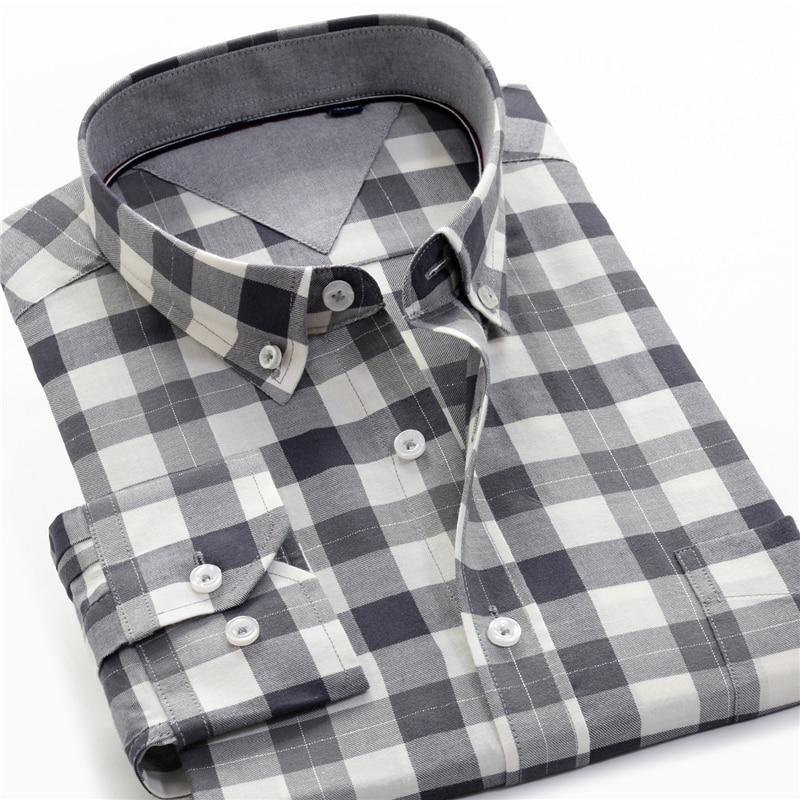 Cotton Plaid Shirt Men  1