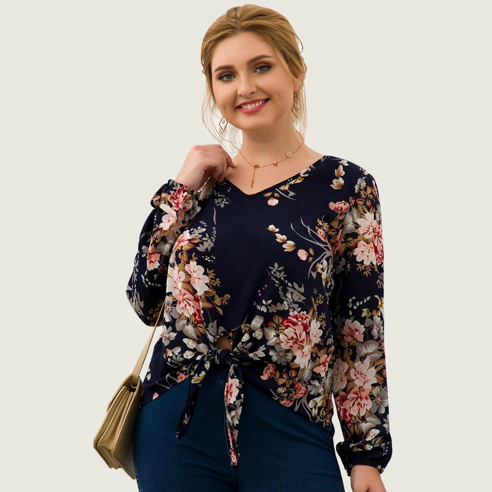 Women Plus Size Pullover Blouse Tops Tie Front V Neck Long Sleeves Spring Autumn Winter Casual Holiday Floral Navy Blue Blouse
