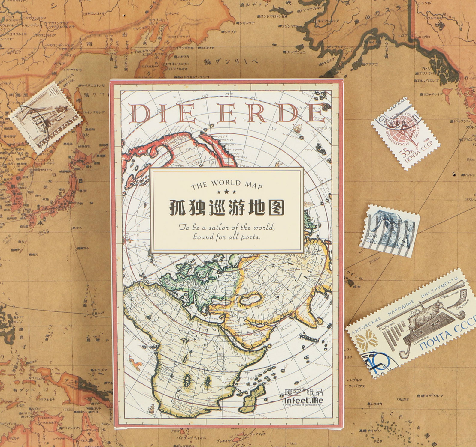 30PCS/LOT Vintage World Map Theme Paper Cards 143mm*93mm DIY Post Cards Message Gift Card Bookmark
