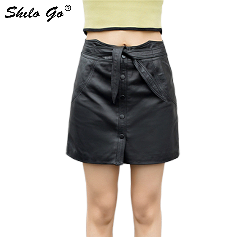 Genuine Leather Skirt Elegant Wrap Waist Button Front High Waist Sheepskin A Line Skirt Women Casual Office Lady Pencil Skirts