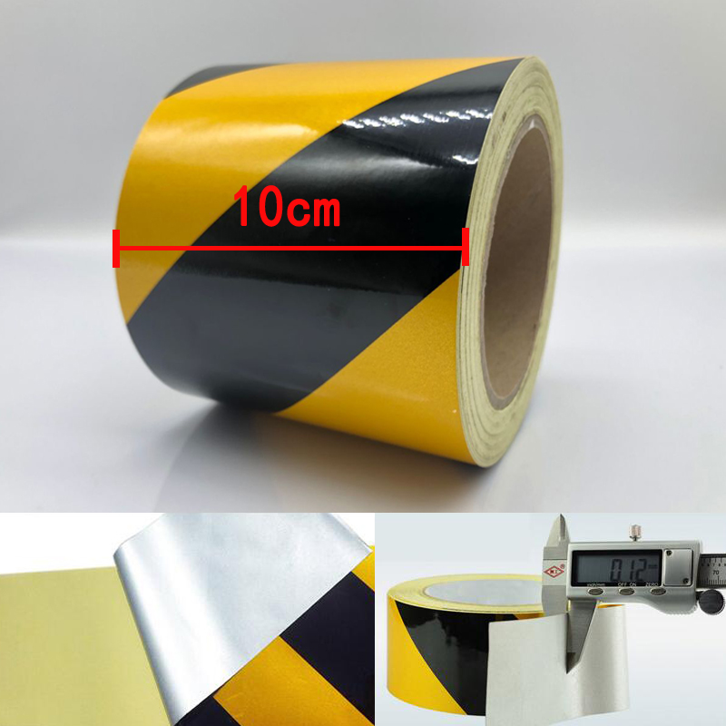 Width 10cm  Self-adhesive Reflective Safety Warning Tape Road Traffic Construction Site Reflective Tape