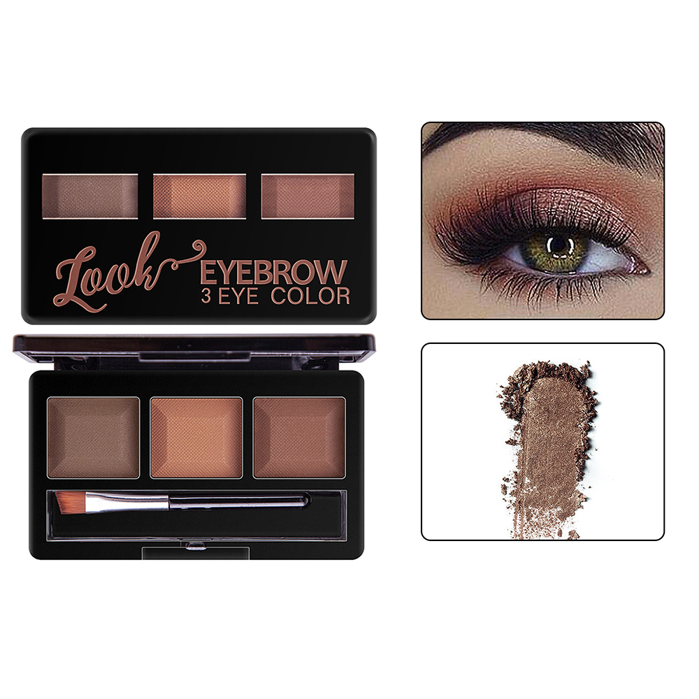 iMucci Eyebrow Powder 3 Colors Eye brow Powder Palette Waterproof and Smudge Proof With Mirror and Eyebrow Brushes Inside in Eyebrow Enhancers from Beauty Health