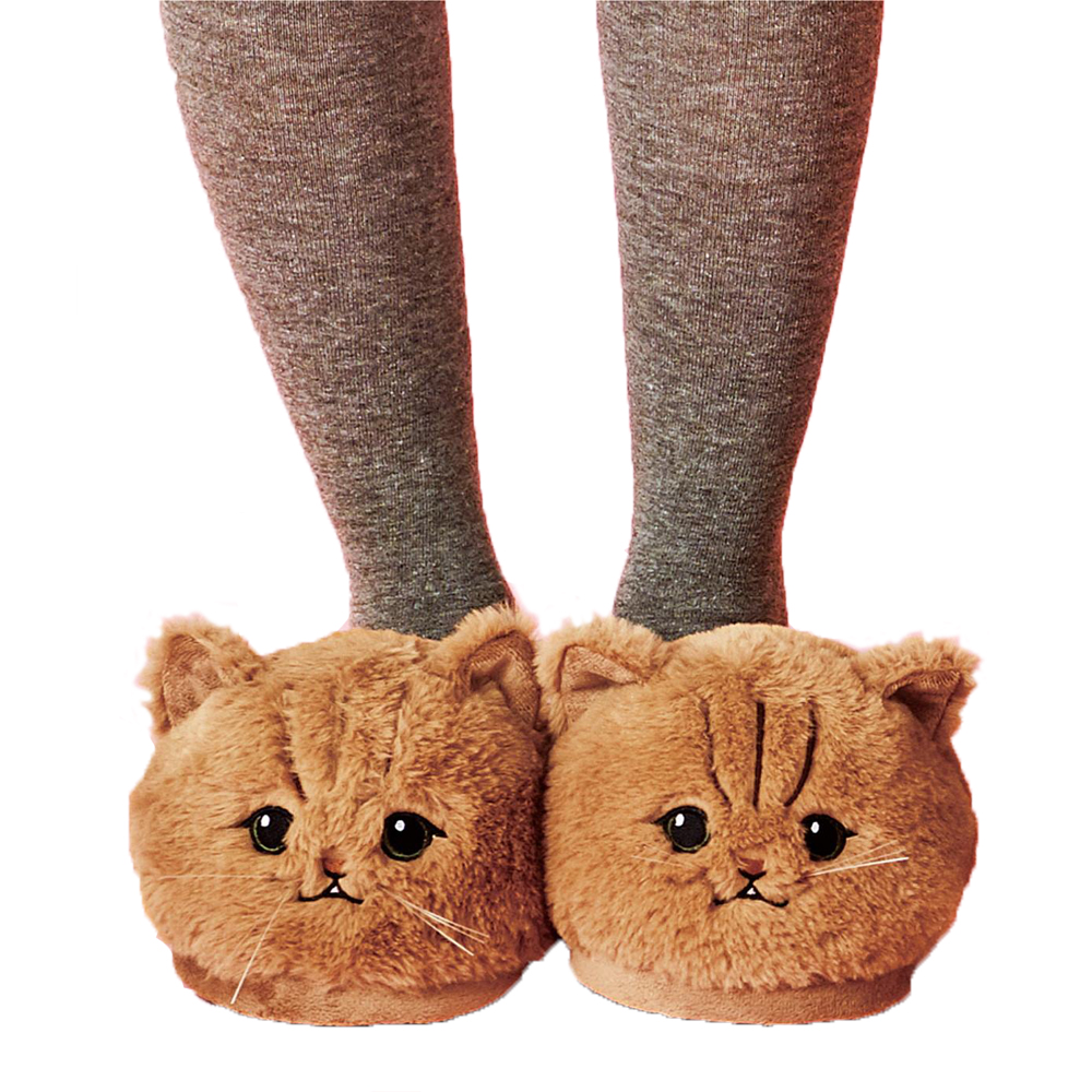 Millffy Cute Unisex Kids Girls 3D Big Head Realistic Kitty Cat Womens Plush Fuzzy Slippers Ladies
