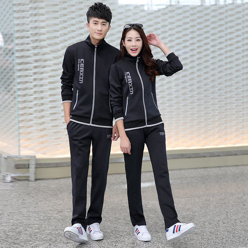 Spring And Autumn Couples Running Sports Set Long Sleeve Casual Groups Customizable Logo Work Clothes School Uniform