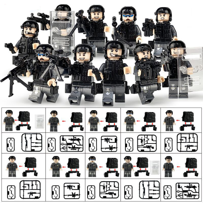 10pcs Military Mini Action Figures Force SWAT Weapon Army Soldier Building Blocks Brick Figure Toys Gift