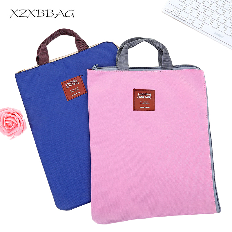 XZXBBAG Oxford Cloth Multi-fonction Zipper Briefcase Portable Student File Bag Women Men Work Business Bag Handbag Zipper Pouch