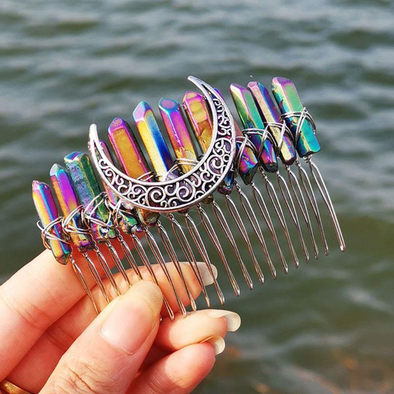 de cabelo de cristal gradiente íris, aura,
