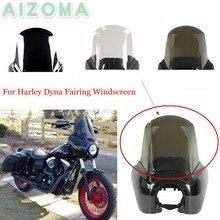 Motocicleta farol carenagem substituição windshield windscreen para harley dyna baixo piloto de rua gordura bob fxr fxd 1987-17