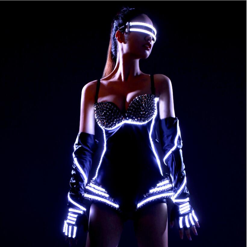LED Clothing Bra Pants Glasses Dance Accessories Carnaval Stage Performance Led Costume
