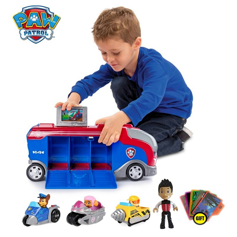Paw Patrol Bus With Music Paw Patrol Car Mission Cruiser Big Truck Toy Dogs Rescue Team Kids Action Figures Toy Christmas Gifts
